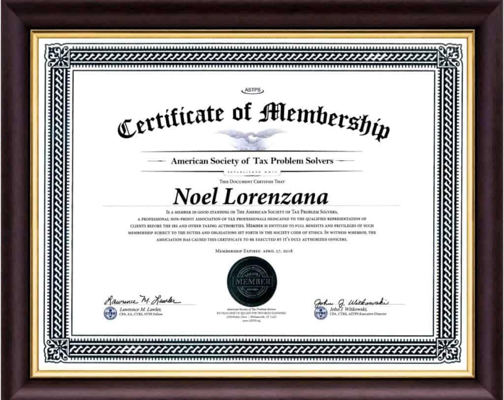Certificate Tax Problem Solvers Noel Lorenzana Framed