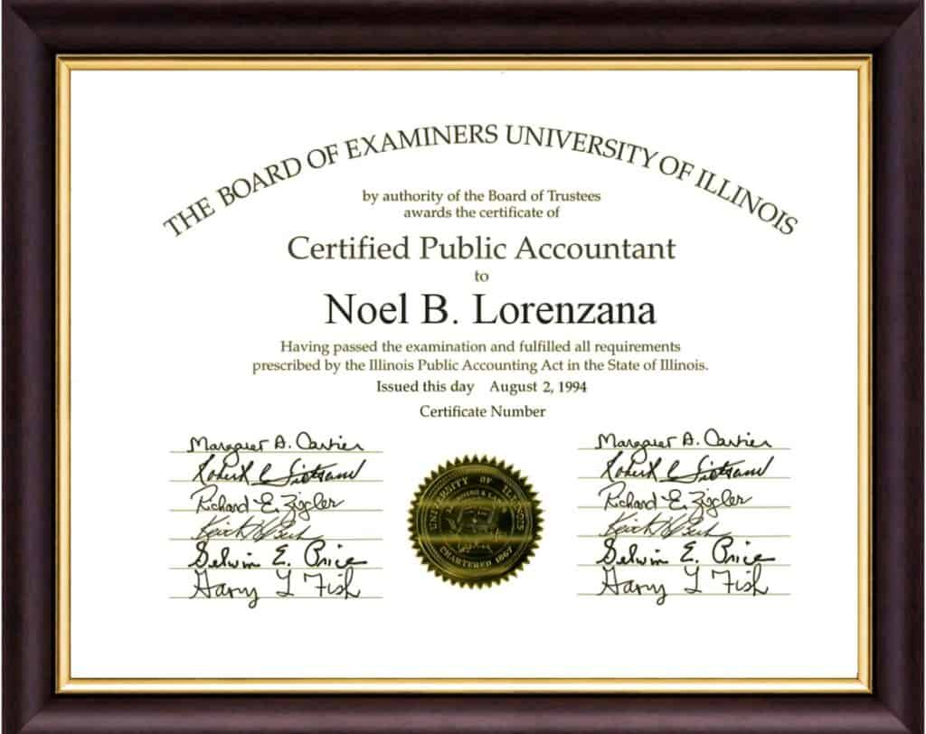 CPA Certificate Noel B Lorenzana Tax Resolution