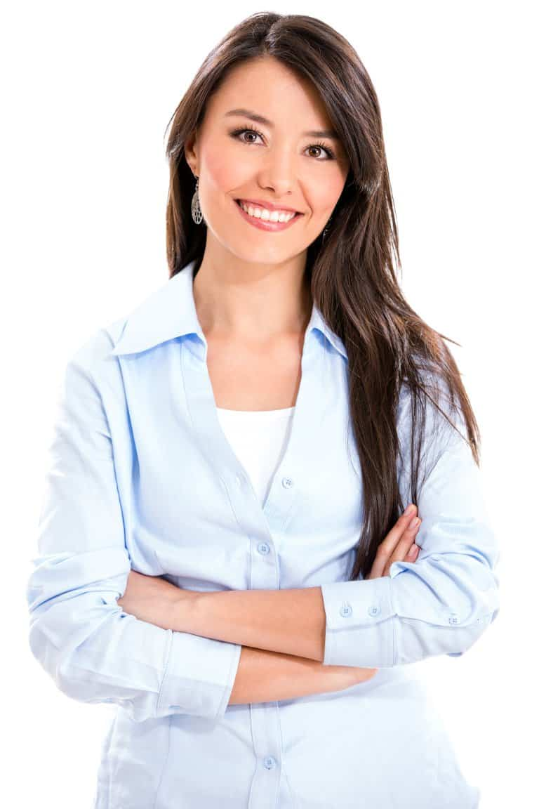Casual business woman smiling - isolated over a white background